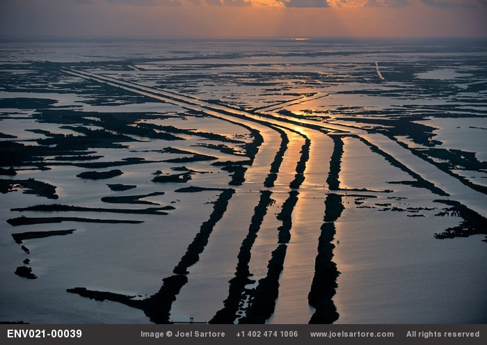 Aerial of the marshlands that have literally been cut to pieces by pipeline canals and shipping channels that have been put in by the oil industry over the years. Such huge canals have allowed saltwater to intrude, killing off the marsh and eliminating its resistance to catastrophic events in the Gulf such as storms, and now, oil spills like the Deepwater Horizon. (Image ID: ENV021-00039)